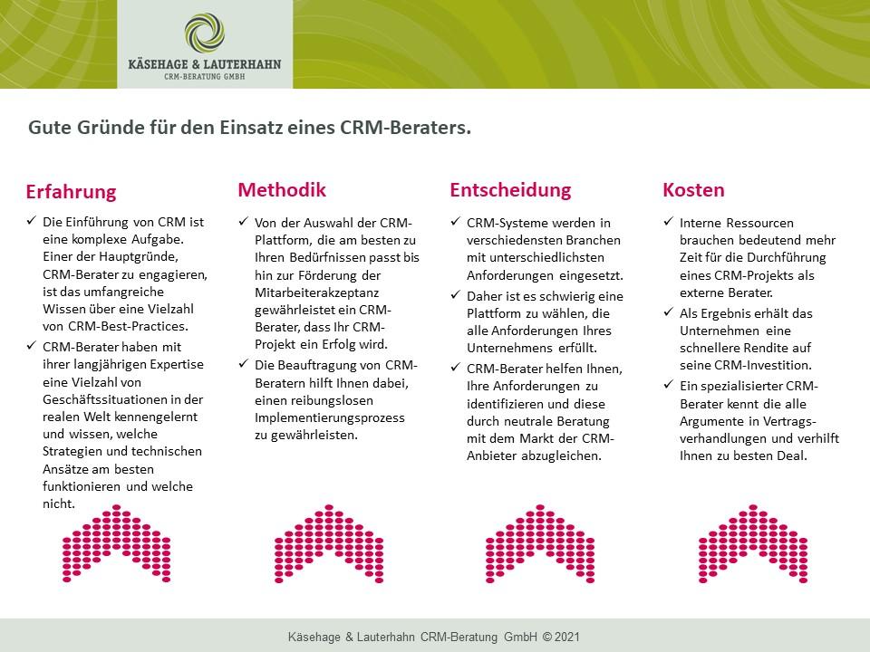 Vier gute Gründe für den Einsatz eines CRM-Beraters